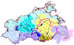 Übersichtskarte der Bearbeitungsgebiete des StAUN Neubrandenburg<p>© StALU MS</p>