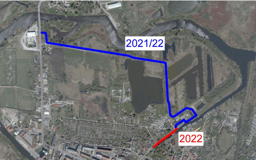Hochwasserschutz Demmin - Luftbild