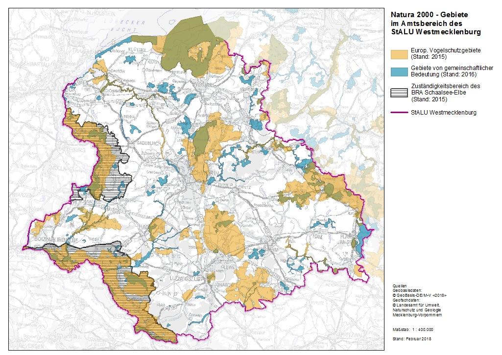 NATURA 2000-Gebiete im Amtsbereich des StALU WM